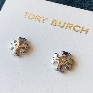 Tory Burch logo silver earrings